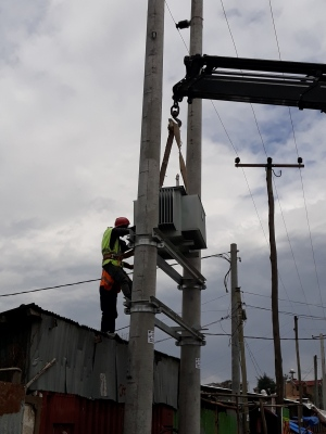 Pole mounted transformer erection and installation